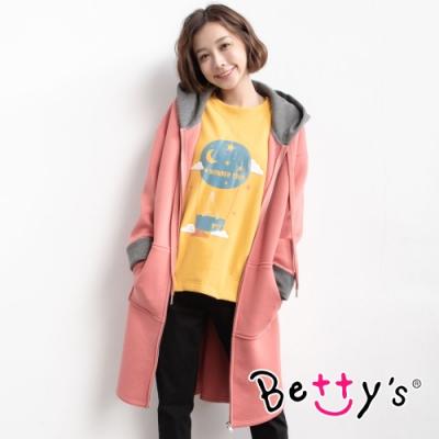 betty's貝蒂思 配色落肩長版連帽外套(磚紅色)