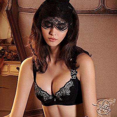 LADY 城市夢幻系列 刺繡機能調整型內衣 E-F罩(晶鑽黑)