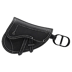 Dior Saddle系列經典粒面小牛皮CD LOGO掛環暗釦零錢包(黑)
