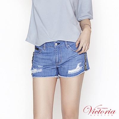 Victoria 中腰流蘇織帶裝飾短褲-女-中藍