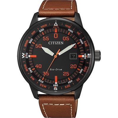 CITIZEN 星辰 限量光動能旅行手錶-橘時標x棕/42mm BM7395-11E