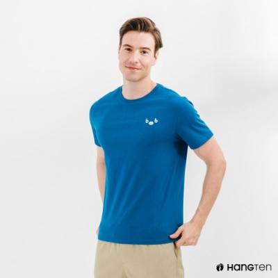 Hang Ten-中性款-Big Blue有機棉印花短袖T恤-藍色