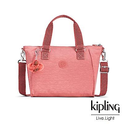 Kipling薔薇粉手提側背包