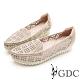 GDC-細緻優雅千鳥格紋羊皮尖頭柔軟休閒鞋-金色 product thumbnail 1