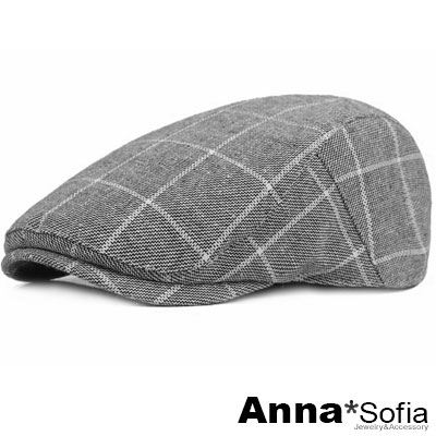 AnnaSofia 粗線條長格紋 棉質鴨舌帽小偷帽(深灰系)