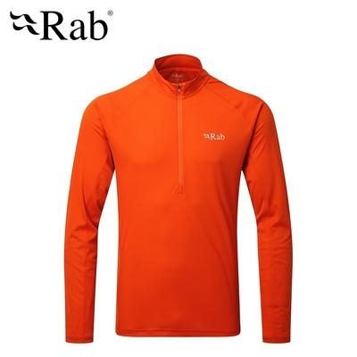 【英國 RAB】Pulse LS ZIP 透氣長袖排汗衣 男款 爆竹橘 #QBU77