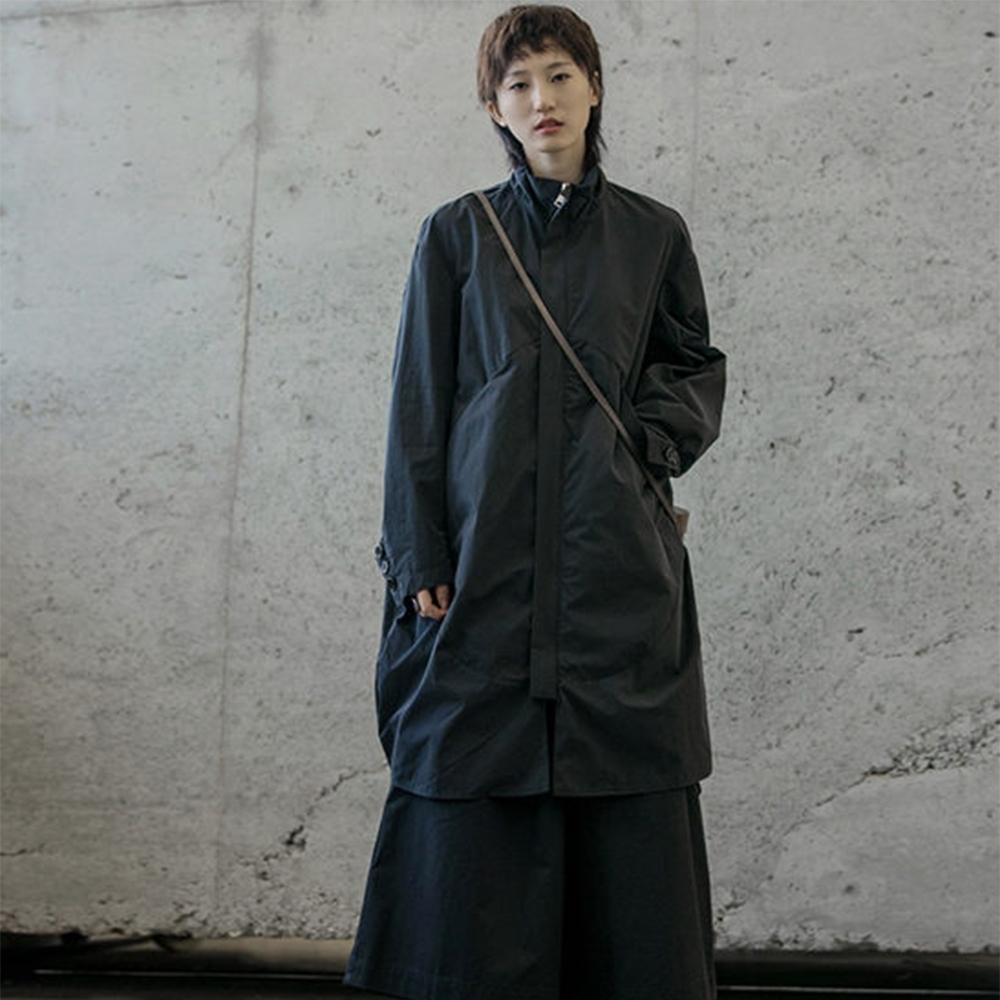 設計所在Style-中性風圓弧形中長風衣外套男女生通穿