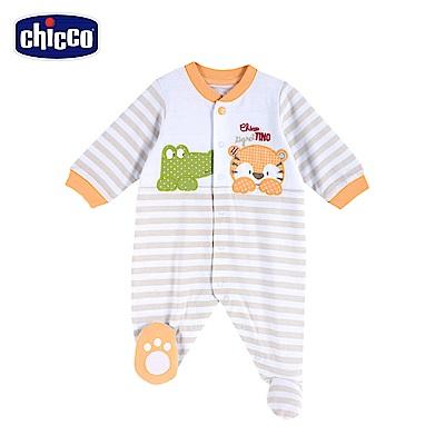 chicco-動物之森-條紋前開長袖兔裝