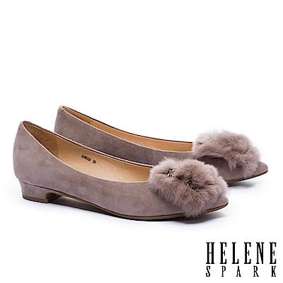 低跟鞋 HELENE SPARK 華麗獺兔毛方鑽飾羊麂皮尖頭低跟鞋-可可