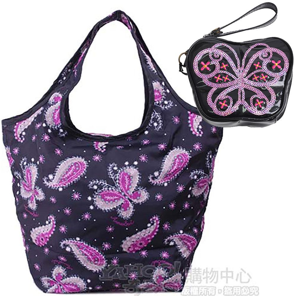 ANNA SUI 亮片蝴蝶造型手拿機能購物袋手拿包套裝組(黑)