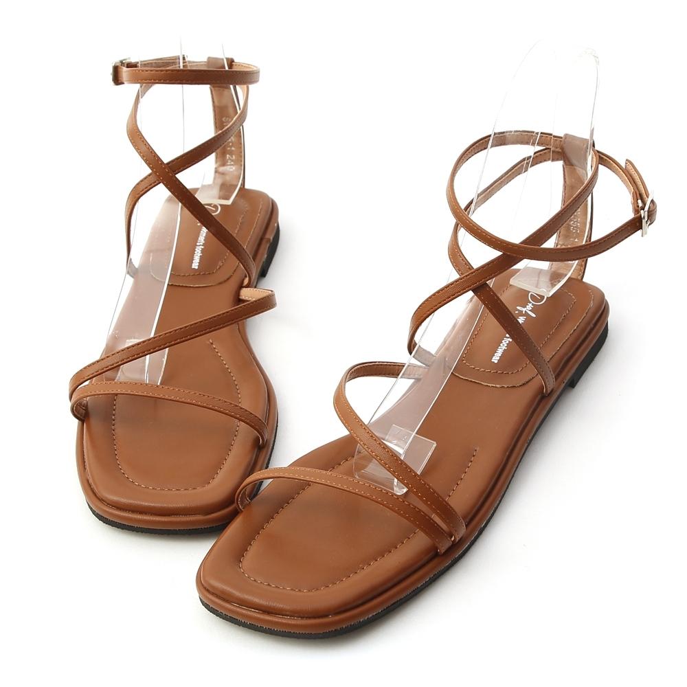 D+AF 自信步調.層次感交叉平底涼鞋*棕