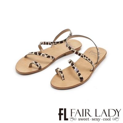 FAIR LADY PORRONET簡約繞帶穿趾平底涼鞋 豹紋