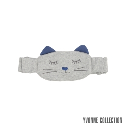 Yvonne Collection 貓咪鬆緊眼罩-淺灰