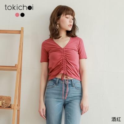 東京著衣 學院女孩V領抽繩設計上衣-S.M.L