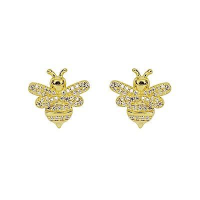 apm MONACO法國精品珠寶 閃耀金色蜜蜂耳針式耳環