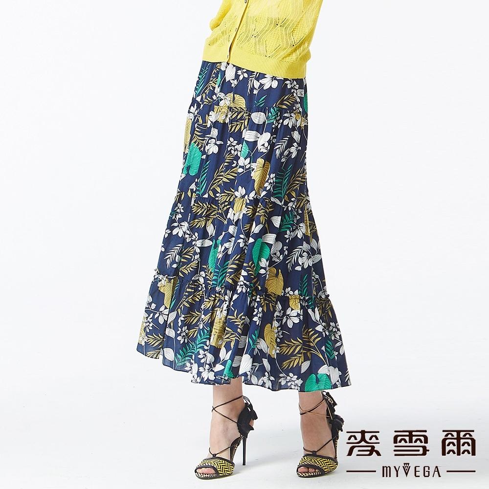 MYVEGA麥雪爾 涼感熱帶植物印花蛋糕層次長裙-深藍