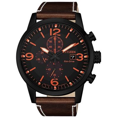 CITIZEN 星辰光動能三眼計時真皮手錶CA0617-11E-黑X咖啡/43mm