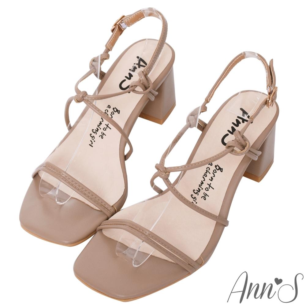 Ann'S細緻扭結V口顯瘦拉帶方頭粗跟涼鞋-可可