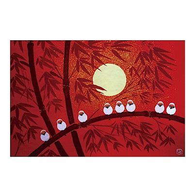 橙品油畫布 單聯 時尚無框畫掛畫-月亮與鳥 40x60cm
