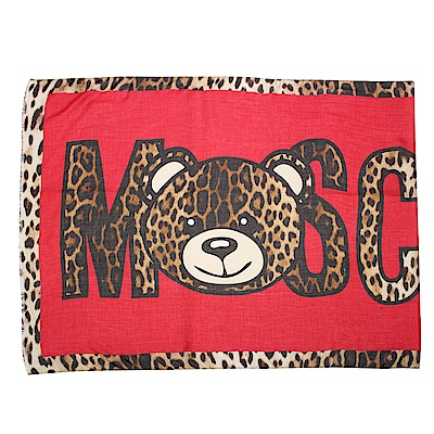 MOSCHINO 經典TOY小熊 豹紋飾邊莫代爾混絲薄圍巾-紅/咖啡色
