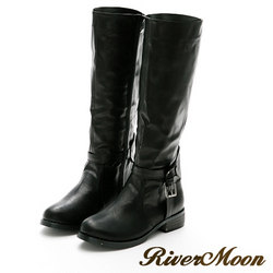 River&Moon大尺碼-個性後扣環彈力拼接長靴-黑