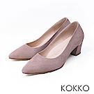 KOKKO - 都會時尚尖頭羊麂皮粗高跟鞋-紳士灰