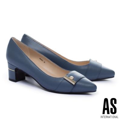 高跟鞋 AS 典雅珍珠帶釦全真皮尖頭高跟鞋-藍