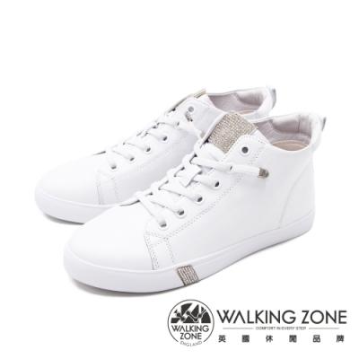 WALKING ZONE(女) 圓頭高筒鑽飾板鞋休閒鞋 女鞋 - 白(另有黑)