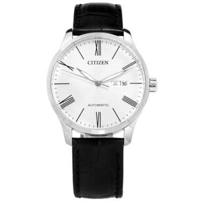 CITIZEN 機械錶 自動上鍊 星期 日期 羅馬刻度 小牛皮手錶-白x黑/40mm