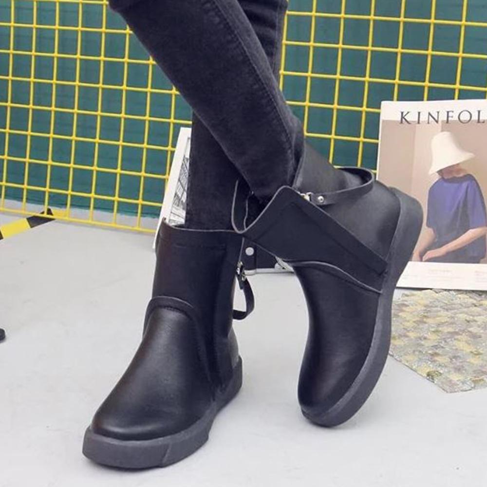 LN 現+預 歐美風純色雙拉鍊軟底短靴-2色 product image 1