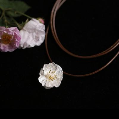 東方美學森系文藝立體花朵蠟繩純銀項鍊-設計所在