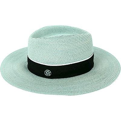 Maison Michel CHARLES 羅緞綢帶大寬檐草編紳士帽(薄荷綠)