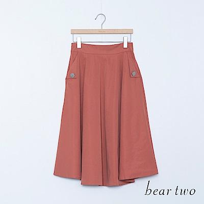 beartwo 大釦飾口袋素面長裙(二色)