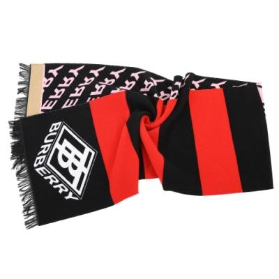 BURBERRY TB 多彩色塊字母雙面用絲綢羊毛流蘇披肩 圍巾