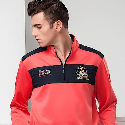 歐洲貴族oillio 長袖T恤 雙色拼接 防風布料 桃紅色