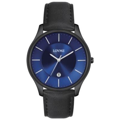 LOVME Simple時尚手錶-IP黑x藍/41mm