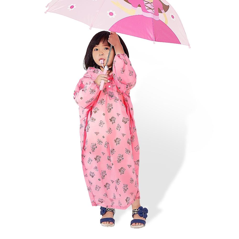 【雙龍牌】通過SGS檢測超輕量Q熊秒套可愛兒童雨衣 套式太空雨衣-草莓粉
