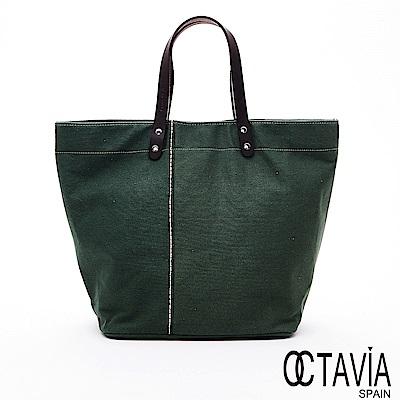 OCTAVIA8 - 春天的風 極簡自然帆布牛皮手提把托特包 - 小草綠