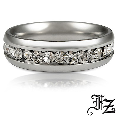 FZ 閃耀愛情晶鑽白鋼戒指(戒圍可選)