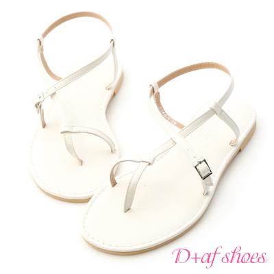 D+AF 涼感夏日.交叉線條套指平底涼鞋*白