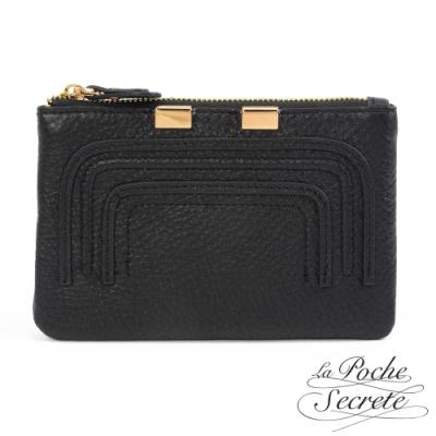 La Poche Secrete 簡約真皮實用零錢包鑰匙包-百搭黑