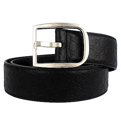 GUCCI 馬蹄鐵扣頭黑色真皮壓紋皮帶(90cm)