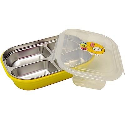 四格長方形不鏽鋼午餐盒(密封蓋)  隔熱雙層便當盒