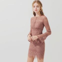 AIR SPACE 曲線修身滿版蕾絲短洋裝(粉紅)