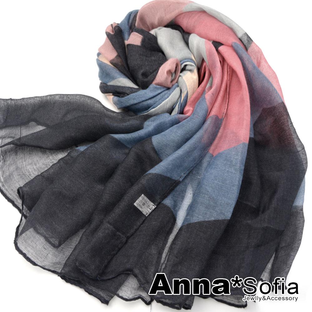 AnnaSofia 霓彩繽幻曲 巴黎紗披肩圍巾(粉藍黑系)