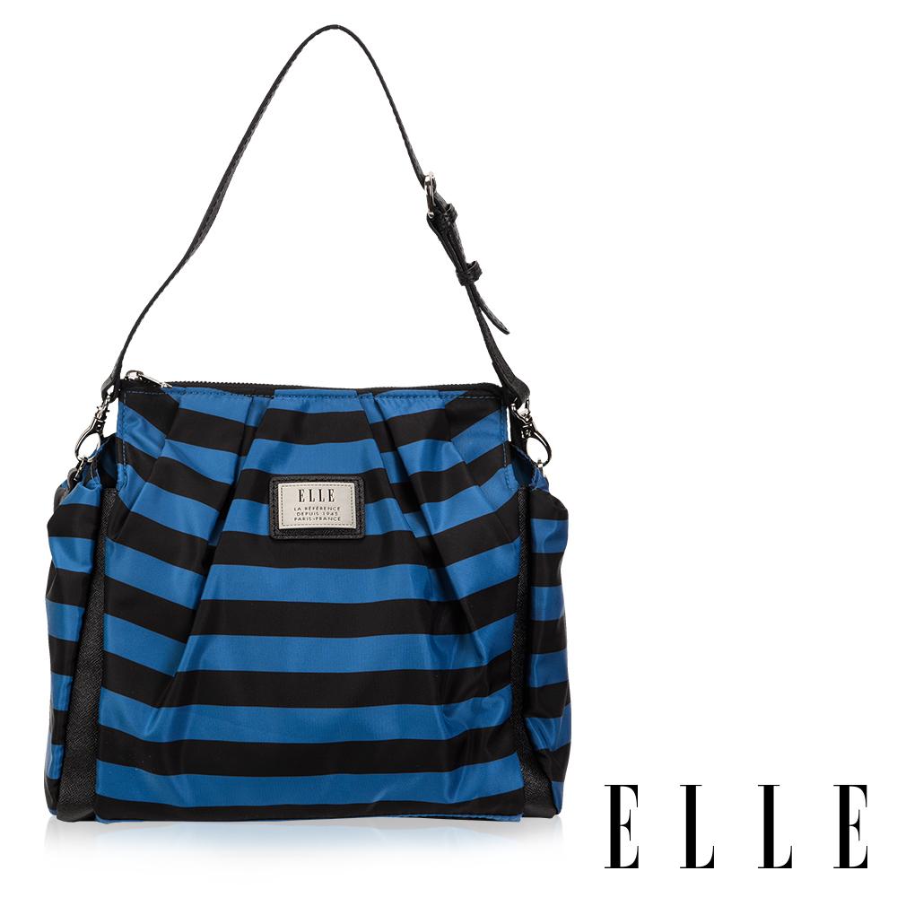 福利品 ELLE 法式淑媛海軍風拉鍊式設計款肩背/側背/可拆式後背包(大)-藍黑條紋