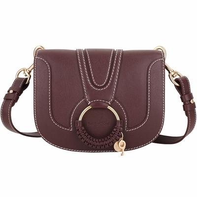 SEE BY CHLOE HANA 小款 明線車縫編織金環牛皮手拿/斜背包(紫紅色)