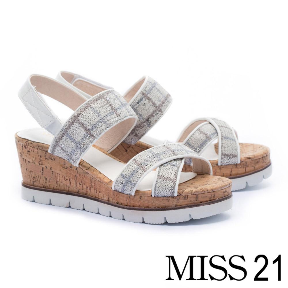 涼鞋 MISS 21 閃耀盛夏交叉帶設計牛皮楔型涼鞋-格紋