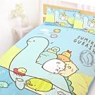 享夢城堡 雙人加大床包涼被四件組-角落小夥伴 恐龍世紀-藍