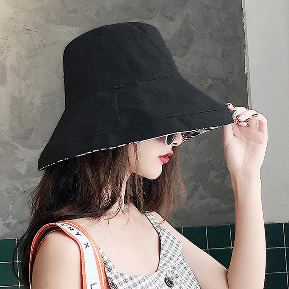 【KISSDIAMOND】大帽檐雙面戴可摺疊收納印花遮陽帽